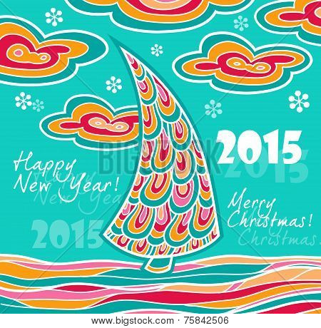 New Year greeting card 2015 with Christmas landscape