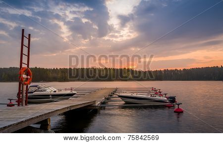 Recreational boats at sunrise
