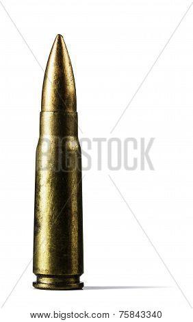 Single Rifle Bullet On White Background