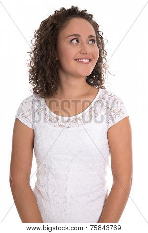 Pretty isolated young smiling woman with natural curls looking sideways to text.