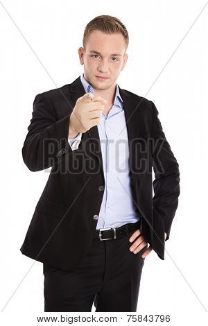 Isolated businessman  or advocate making warning gesture with finger looking aggressive.