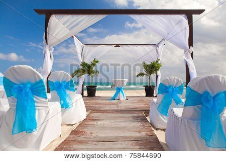 Beautiful Decorated Romantic Wedding  on Sandy Tropical Caribbean Beach.