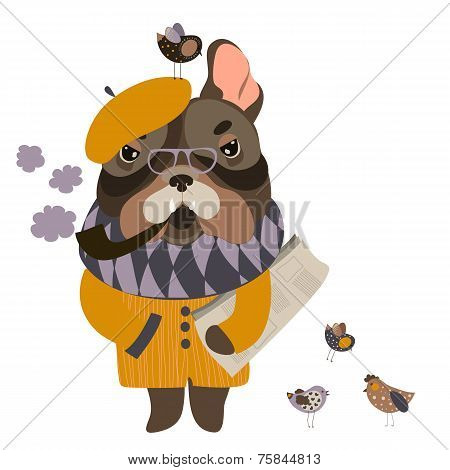 Serious grandpa dog with a newspaper and smoking pipe