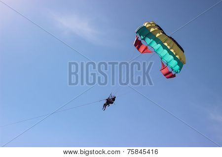 sky diving with blue sky behind