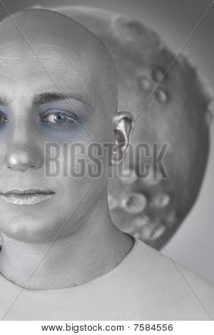 Alien Man Futuristic Silver Skin Extraterrestrial Space