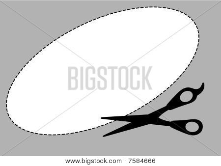 Illustration of a template and a scissors with cut lines