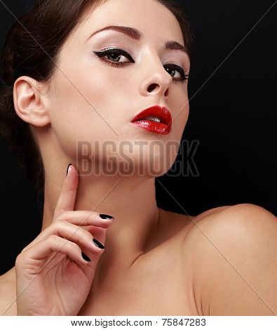Beautiful Female Model With Black Eyeliner On Eyes And Red Lipstick