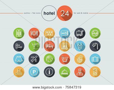 Hotel Flat Icons Set