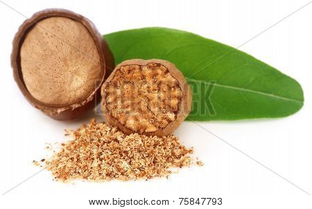 Nutmeg With Green Leaves