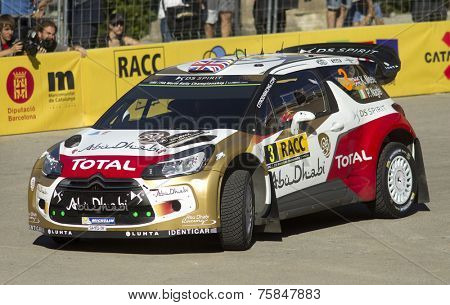 BARCELONA - OCT, 23: Kris Meeke and Paul Nagle of Great Britain in their Citroen DS3 during the Rally Catalunya-Costa Daurada of the WRC Spain on October 23, 2014 in Barcelona, Spain