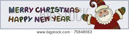 Santa Claus, Merry Christmas And Happy New Year Labels For Xmas, Banner, Sign, Poster, Holiday Invit