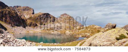 Lake high up in the Rila mountain range