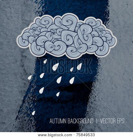 Rainy day background.  Autumn season design. Poster template. Bo