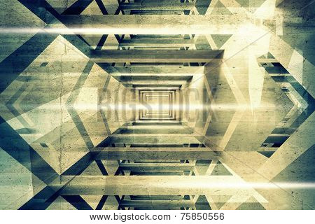 Abstract 3D Interior Background With Light Beams