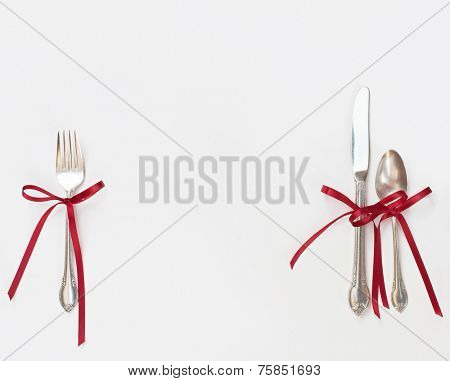 Silverware with Red Bows