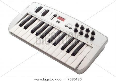Grey midi keyboard isolated on white background