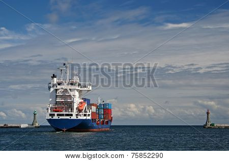 cargo ship leaving the harbor