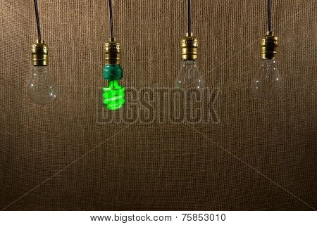 Hanging Green Cfl And Incandescent Bulbs