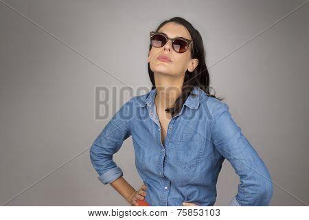 Attractive Brunette Woman In Dark Glasses