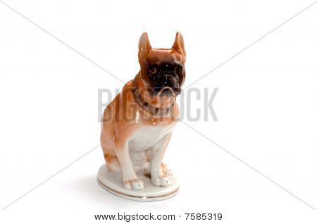 Porcelain antique red dog isolated on white
