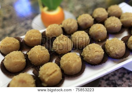 Tray With Brown Ball Cakes