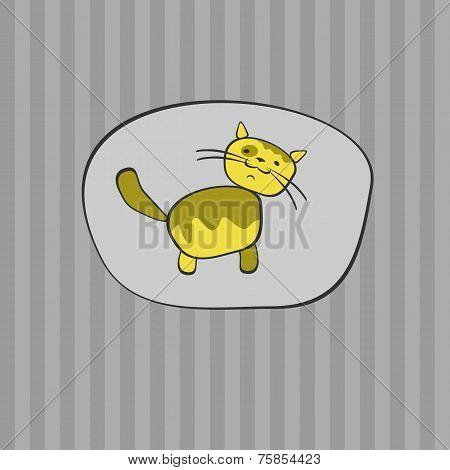Cartoon cat illustration. Cartoon illustration with yellow cat.