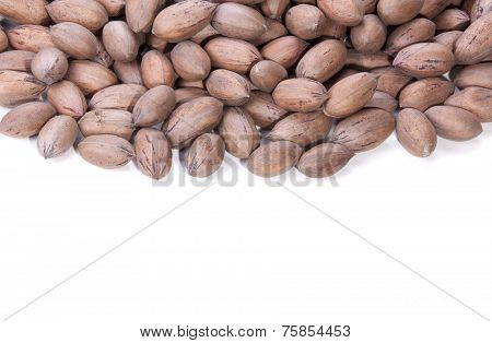 Brown Unshelled Pecan Nuts With Copy Space