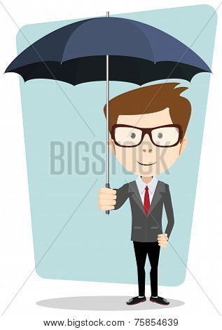 Hipster gentleman with glasses a suit under the umbrella