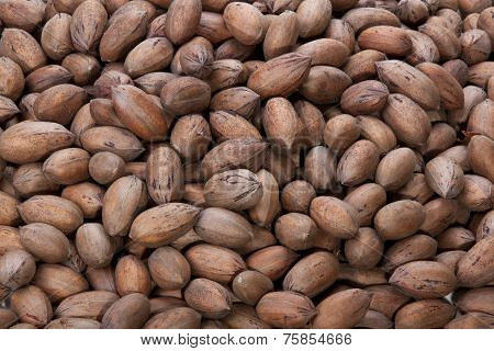 Closeup Of Pecan Nuts Stacked In A Pile