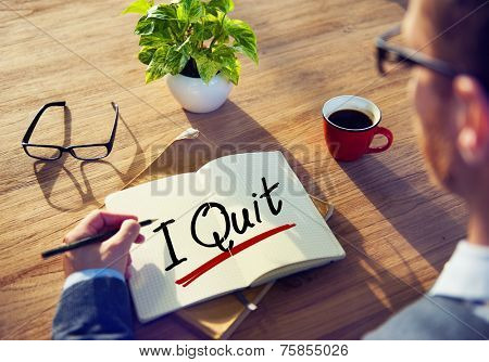 A Man Brainstorming with I Quit Concept