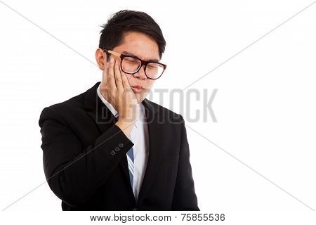 Asian Businessman Has Toothache Put His Palm On Cheek