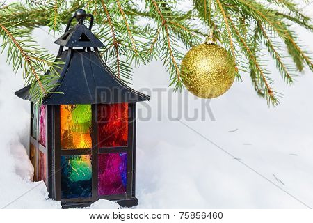 Decorative Lantern  And Gold Christmas Ball