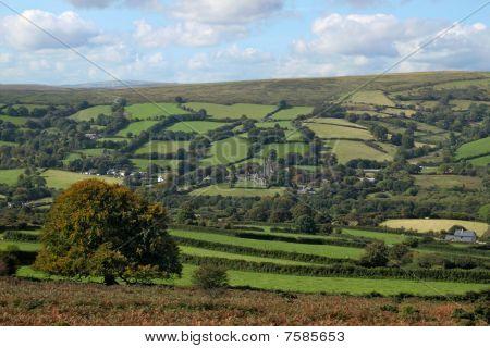 Dartmoor Countryside Above  Widdecombe In The Moor, Devon Uk.