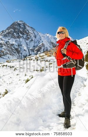 Woman Hiker Walking In Himalaya Mountains, Nepal