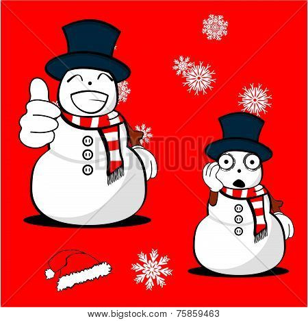 snow man cartoon xmas set1