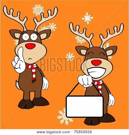 xmas reindeer cartoon expression set09