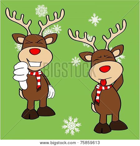 xmas reindeer cartoon expression set9