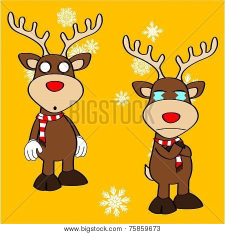 xmas reindeer cartoon expression set5