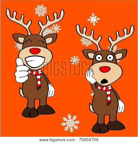 xmas reindeer cartoon expression set2