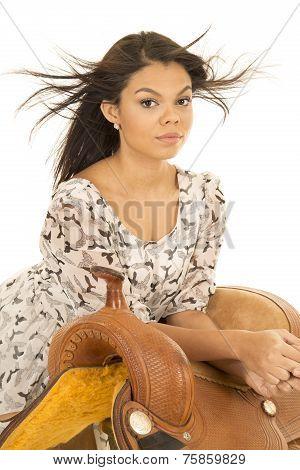 Hawaiian Woman Bird Dress Lean On Saddle Hair Blowing