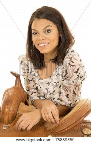 Hawaiian Woman Bird Dress Lean On Saddle Smile