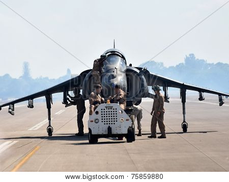 Crews Retrieve Harrier Fighter Jet