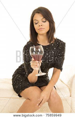 Hawaiian Woman Black Dress Wine Glass Look Down