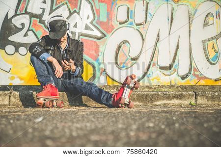 Cool Man Wearing Roller Skating Shoes