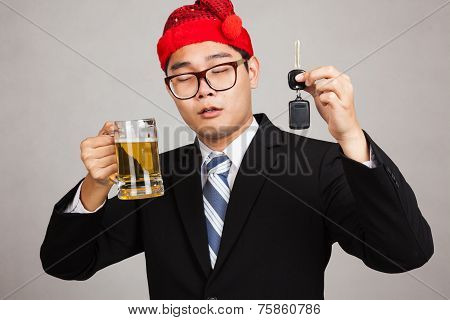 Asian Businessman With Party Hat ,drink Beer,get Drunk, Hold Car Key
