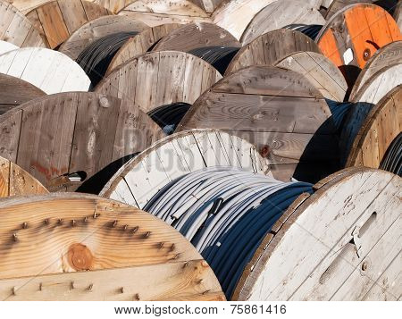 Wooden Spools And Cables