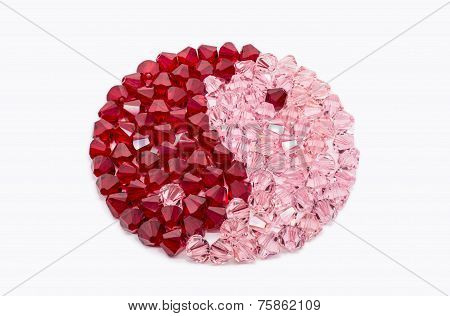 Red And Pink Crystals In Shape Of Ying And Yang