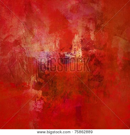 Red Abstract On Canvas