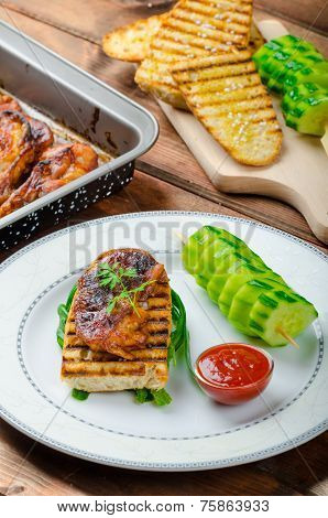 Sticky Chicken With Spicy Sauce, Toasted Panini