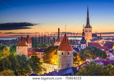 Tallinn, Estonia old city skyline at dawn.